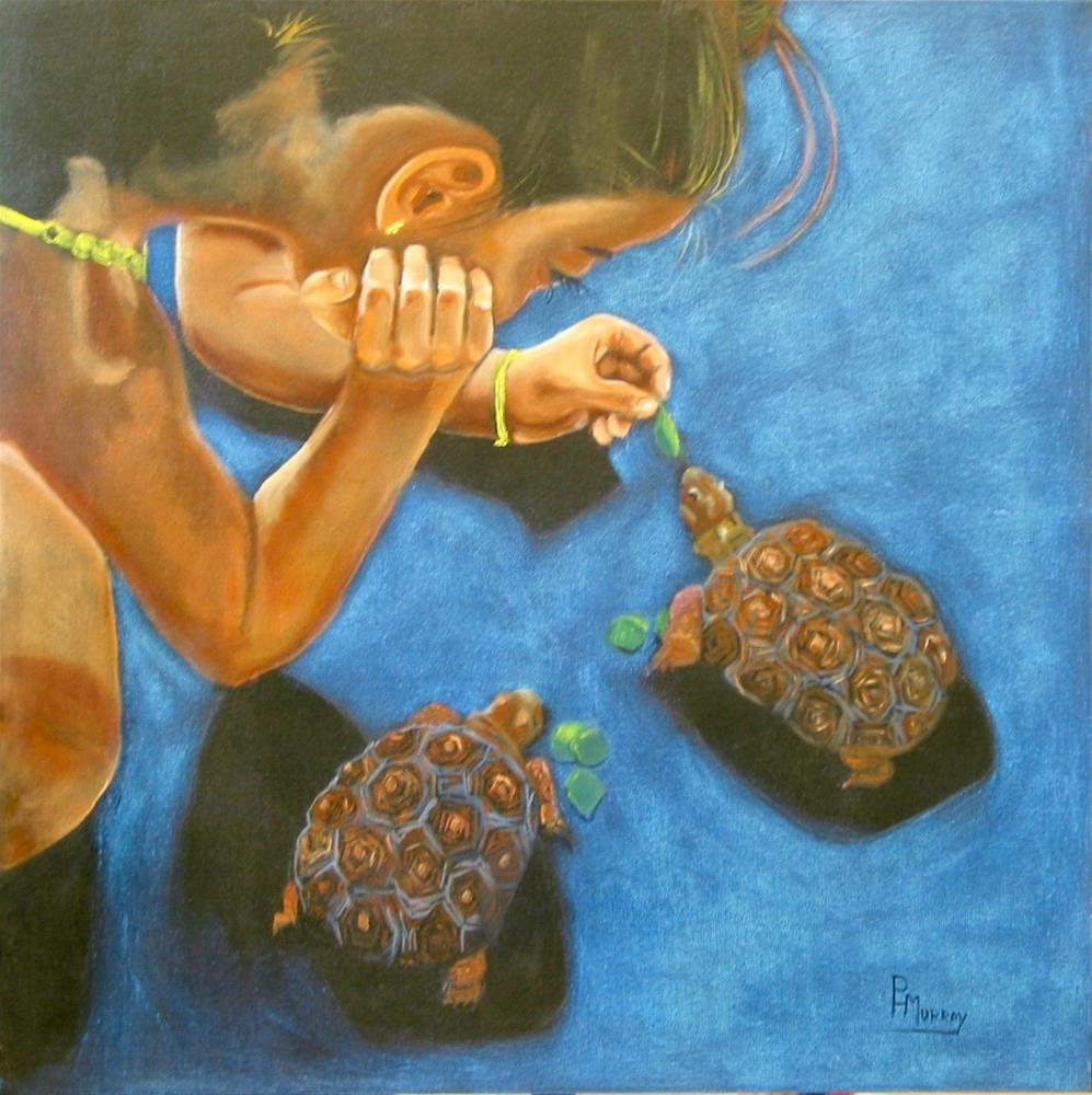 """Feeding Tortoises"" original fine art by Patricia Murray"