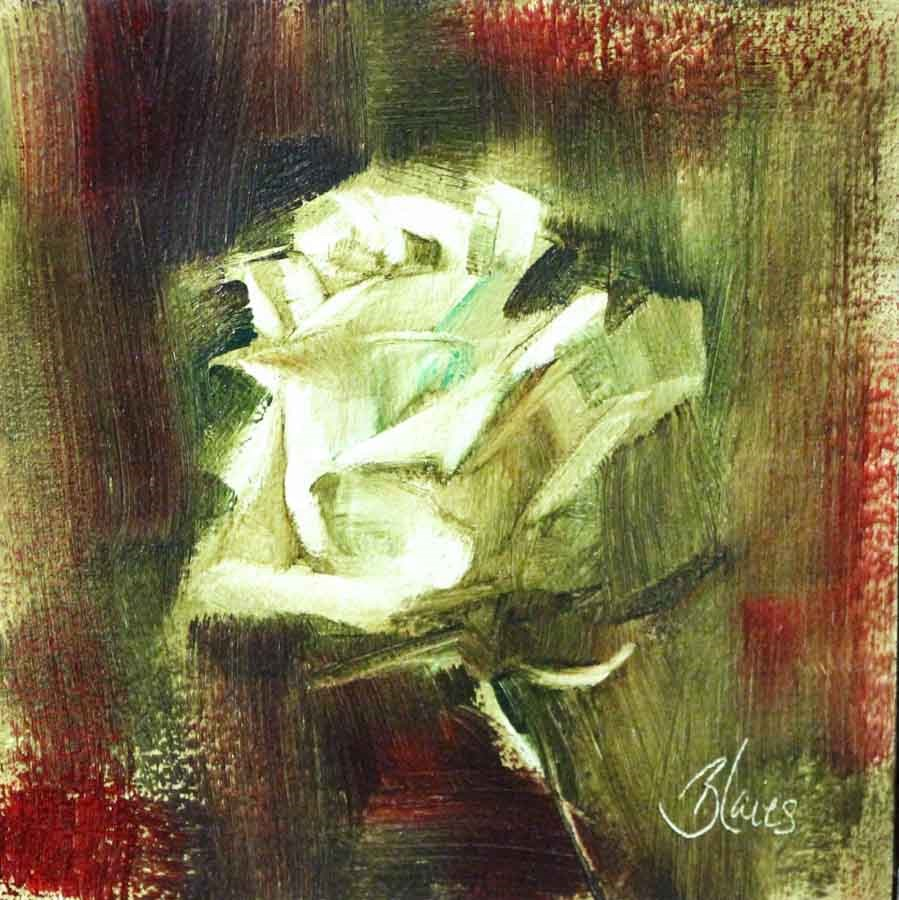 """White Rose Study"" original fine art by Pamela Blaies"