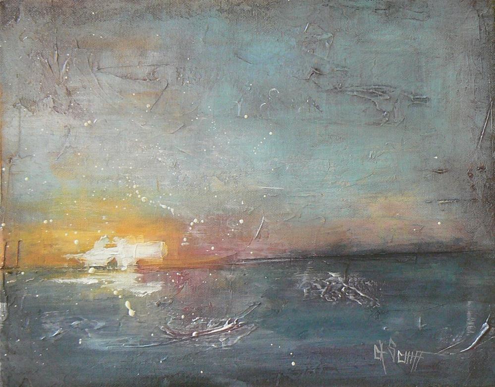 """Abstract Seascape, 11x14  Sunset"" original fine art by Carol Schiff"