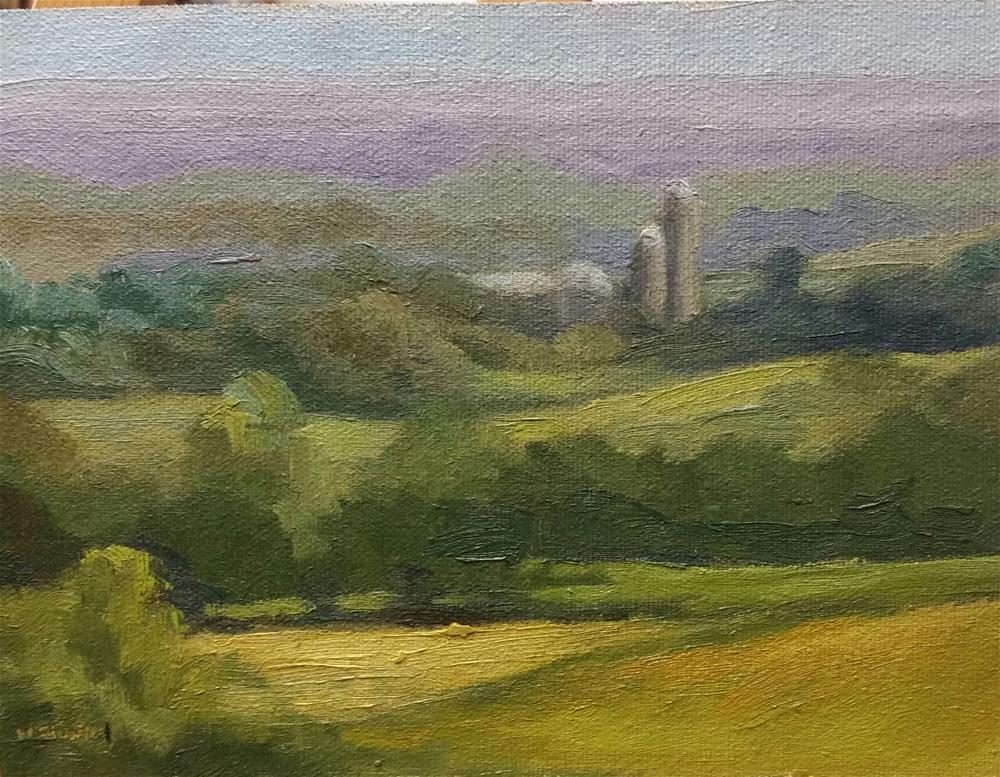 """Flint Hills Dairy Farm-plein air"" original fine art by Veronica Brown"