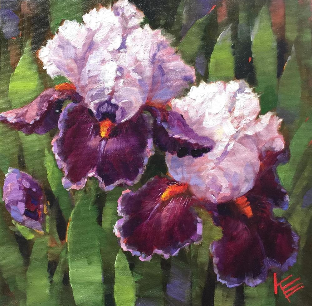"""Purple Irises - Tall bearded iris"" original fine art by Krista Eaton"