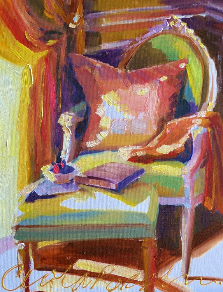 """FRENCH CHAIR"" original fine art by Cecilia Rosslee"