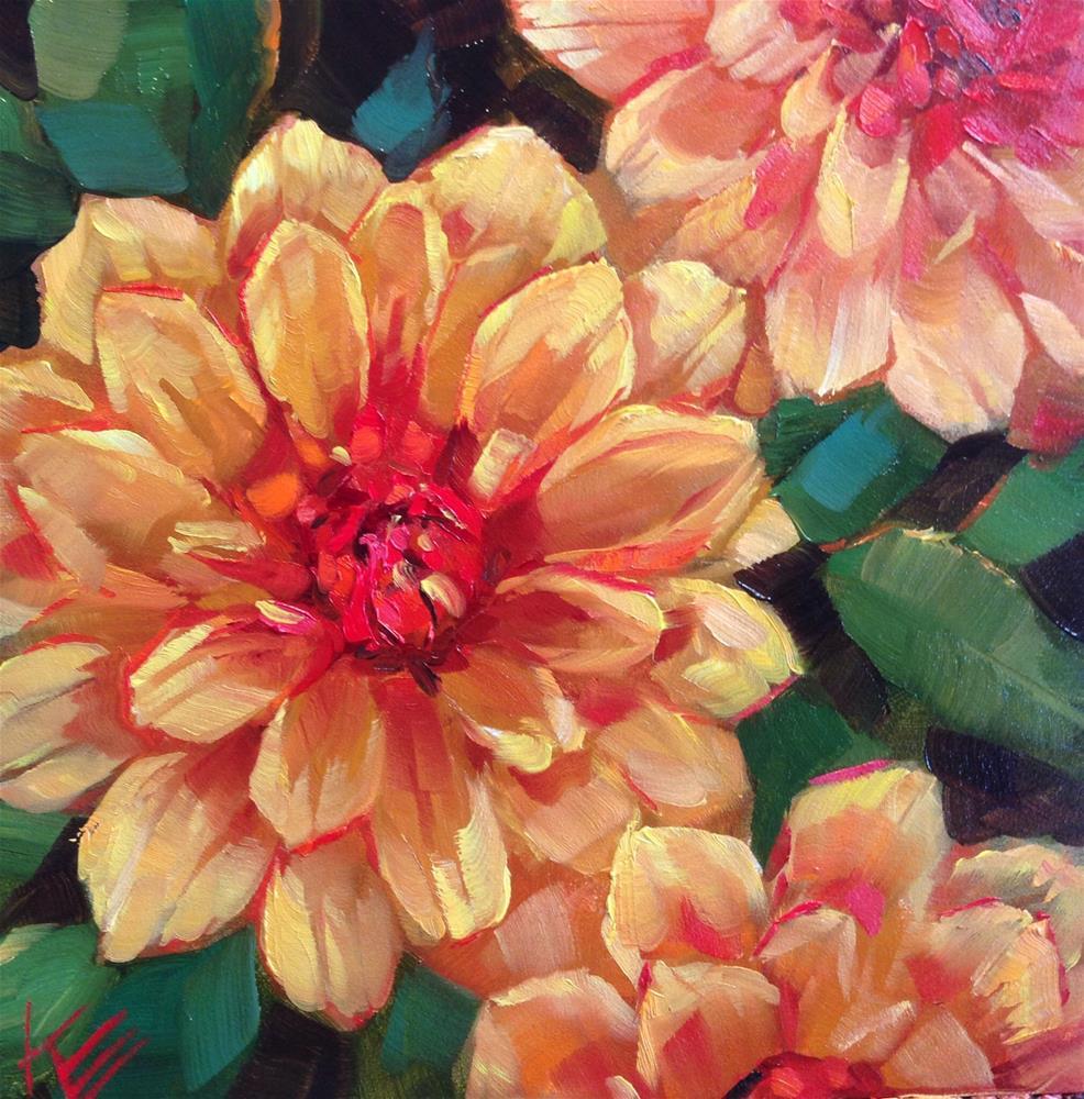 """Oktoberfest Dahlias"" original fine art by Krista Eaton"