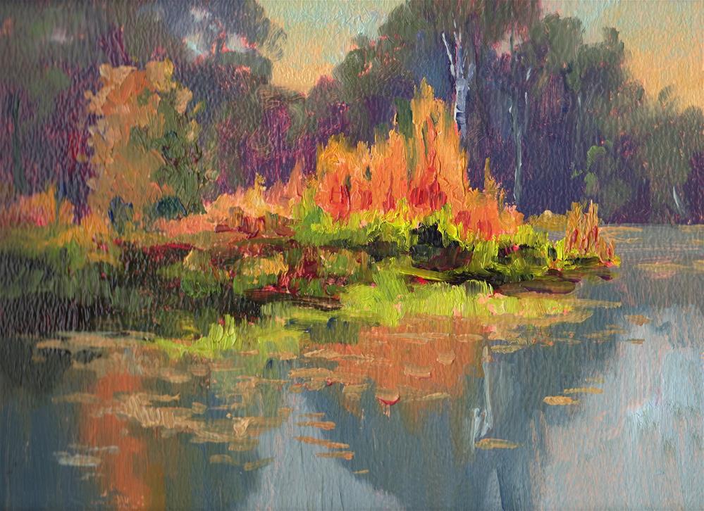 """GRASSY BOG ISLAND"" original fine art by Karen E Lewis"