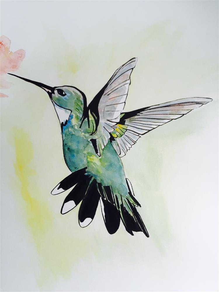"""hummingbird blue"" original fine art by Arron McGuire"