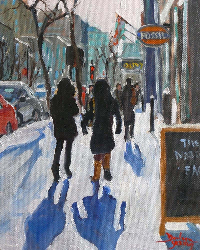 """900 Montreal Winter Scene, Ste-Catherine, oil on board, 8x10"" original fine art by Darlene Young"