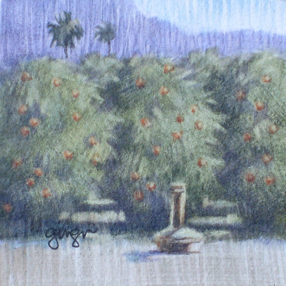 """Mini Orange Grove"" original fine art by Ginger Pena"