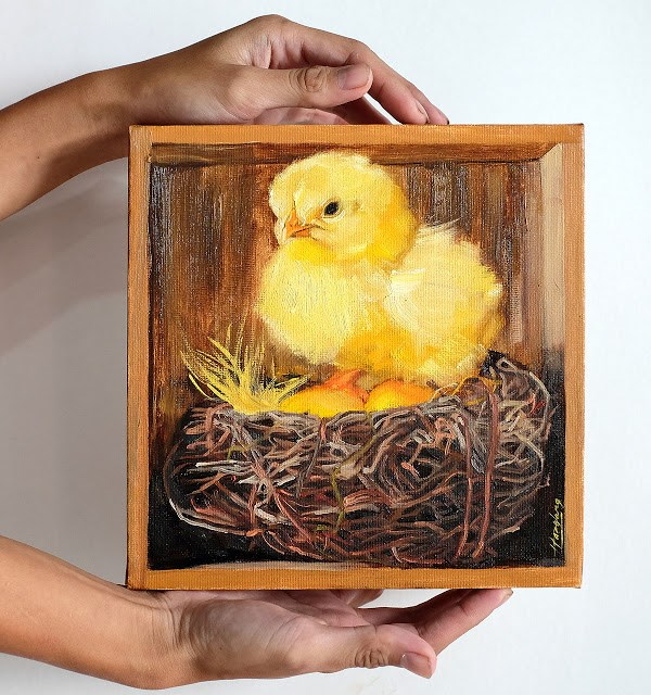 """Chick and Nest in Wooden Box"" original fine art by Haze Long"