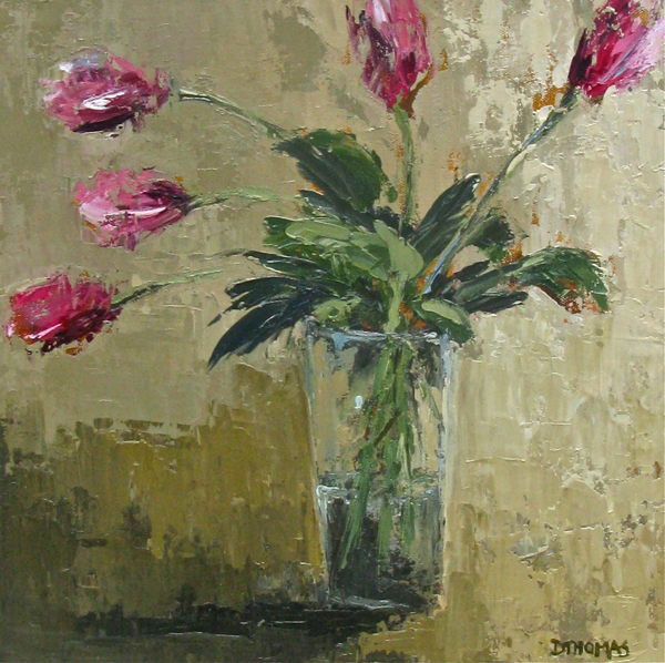 """Pink Tulips"" original fine art by Donna Thomas"