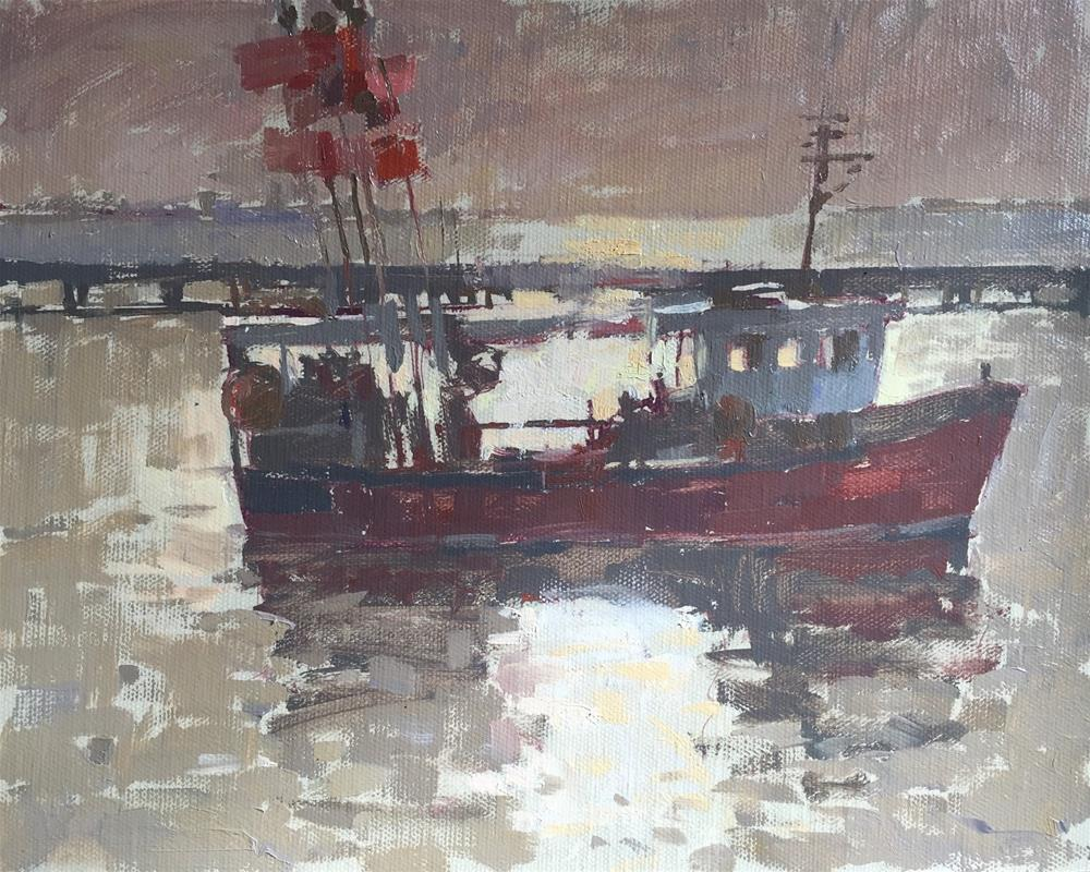 """Evening light, Harwich"" original fine art by Haidee-Jo Summers ROI"