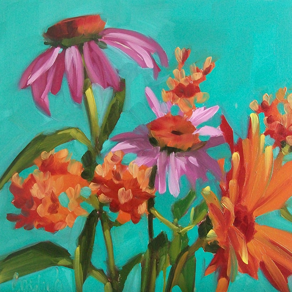 """Orange&pink"" original fine art by Brandi Bowman"