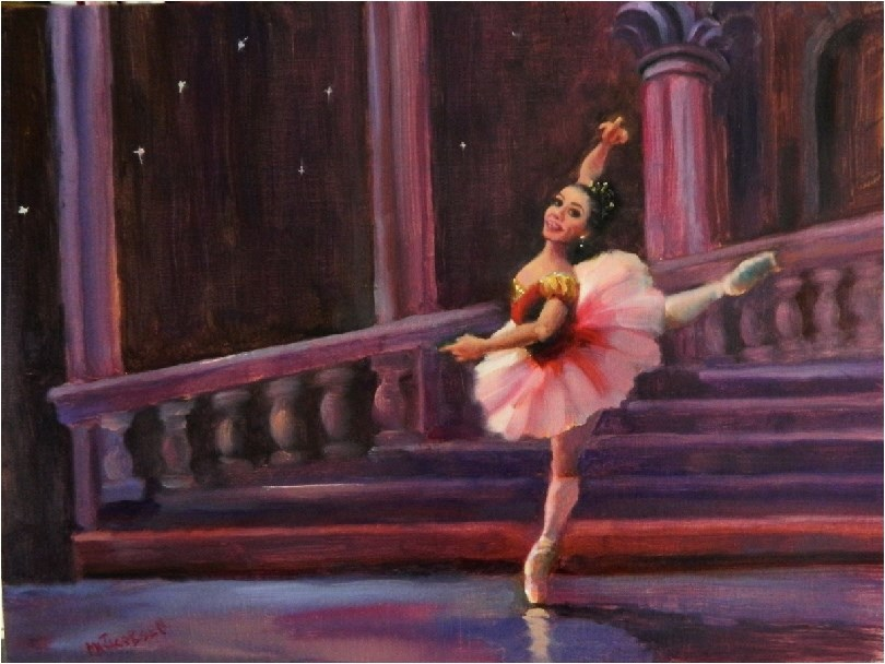"""Princess Aurora, 12x16, oil, paintings of dancers, Sleeping Beauty Ballet, pink tutu, en pointe, d"" original fine art by Maryanne Jacobsen"