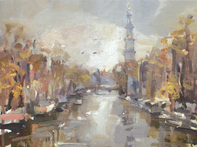 Amsterdam in autumn #5 Westertoren original fine art by Roos Schuring