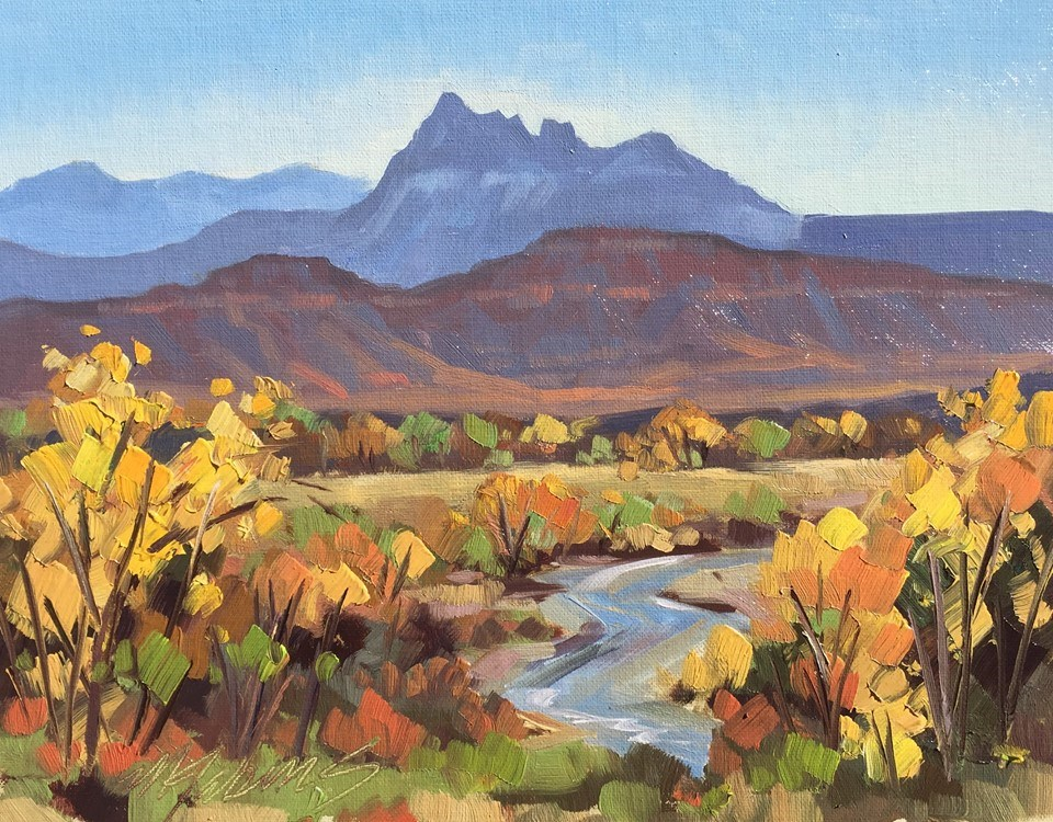"""Fall on the Virgin River - Zion Ntl. Park"" original fine art by Mary Jabens"