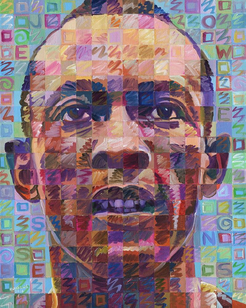 """""""Jesse Owens"""" original fine art by Randal Huiskens"""