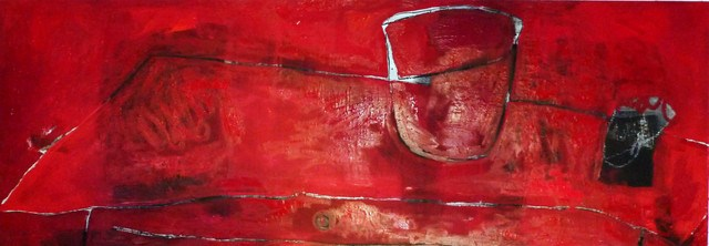 """Roter Tisch / red table"" original fine art by Mila Plaickner"