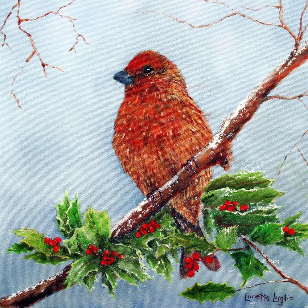 """House Finch in Winter"" original fine art by Loretta Luglio"