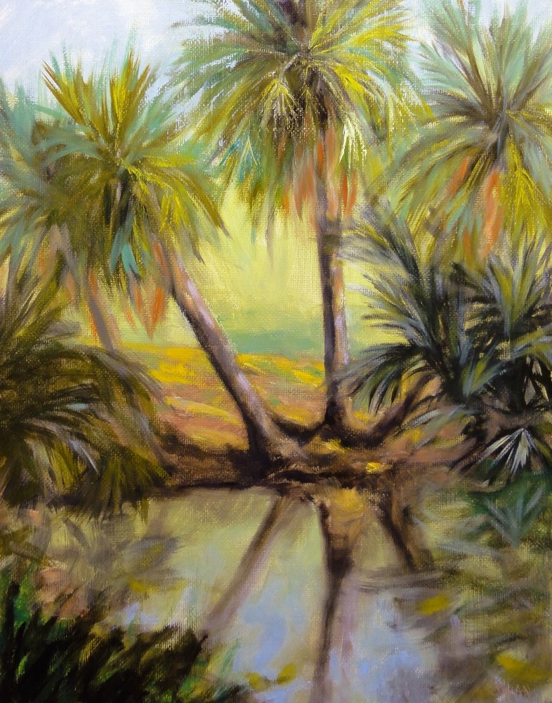 """Palm Trio At The Waters Edge Plein Air"" original fine art by Dalan Wells"