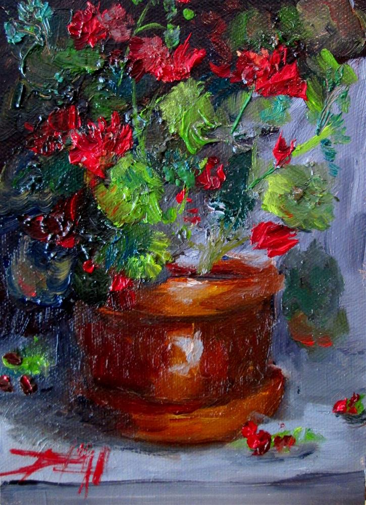 """Clay Pot Geraniums"" original fine art by Delilah Smith"