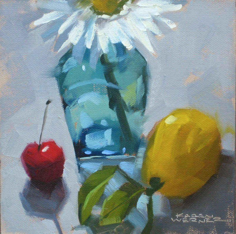 """Demo With A Cherry"" original fine art by Karen Werner"