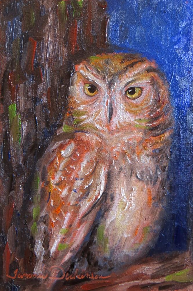"""Owl in Tree"" original fine art by Tammie Dickerson"
