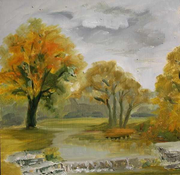 """""""Rainy Day in the Park"""" original fine art by Jane Frederick"""