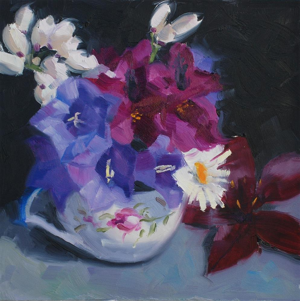"""A Cool Teacup Bouquet"" original fine art by Susan McManamen"