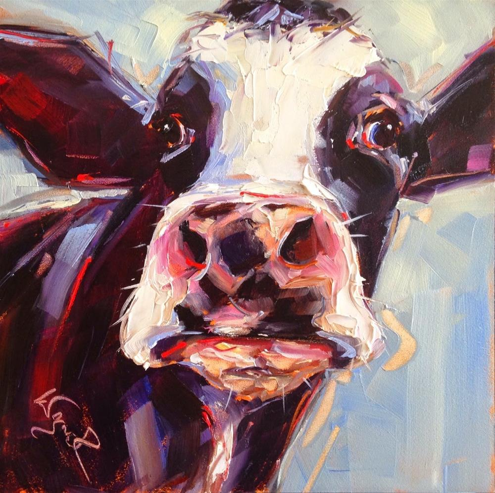 """Loving Color Day 5 - ORIGINAL CONTEMPORARY COW PAINTING in OILS by OLGA WAGNER"" original fine art by Olga Wagner"