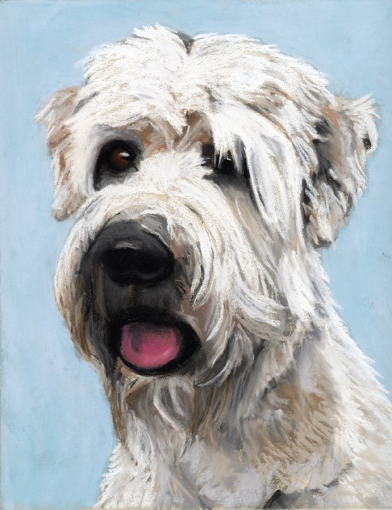 """Hoilday Painting Sale and dog portrait"" original fine art by Ria Hills"