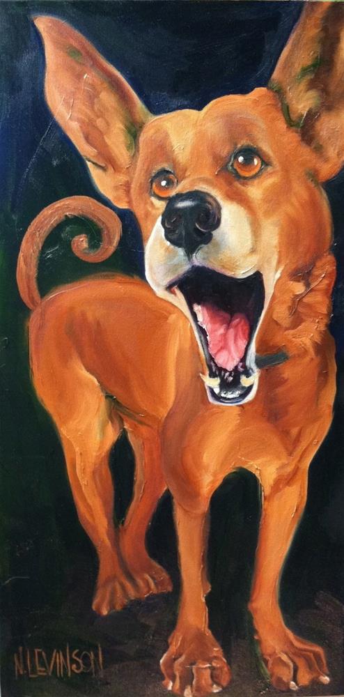 """Singing Dog"" original fine art by Nancy Levinson"