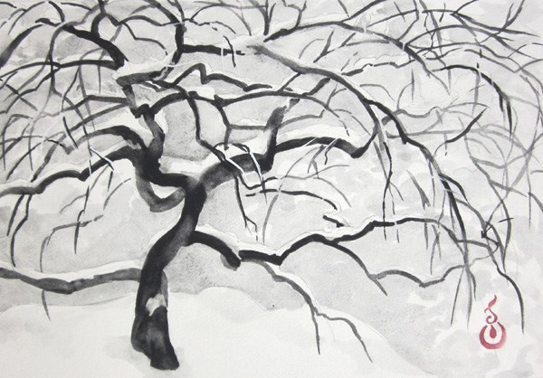 """Japanese Maple in the Snow #1"" original fine art by Catherine M. James"