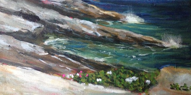 """Maine Rocks, 6x12 acrylic painting by Kelley MacDonald"" original fine art by Kelley MacDonald"
