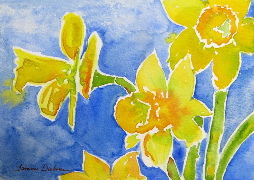 """Yellow Daffodils"" original fine art by Tammie Dickerson"