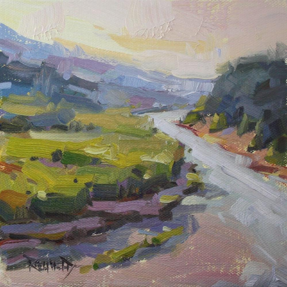 """The Hood River from Indian Creek Trailhead"" original fine art by Cathleen Rehfeld"