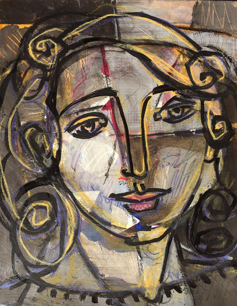 """Picasso's Girl, figurative drawing painting on paper, contemporary figure painter, head of woman, ab"" original fine art by Marie Fox"