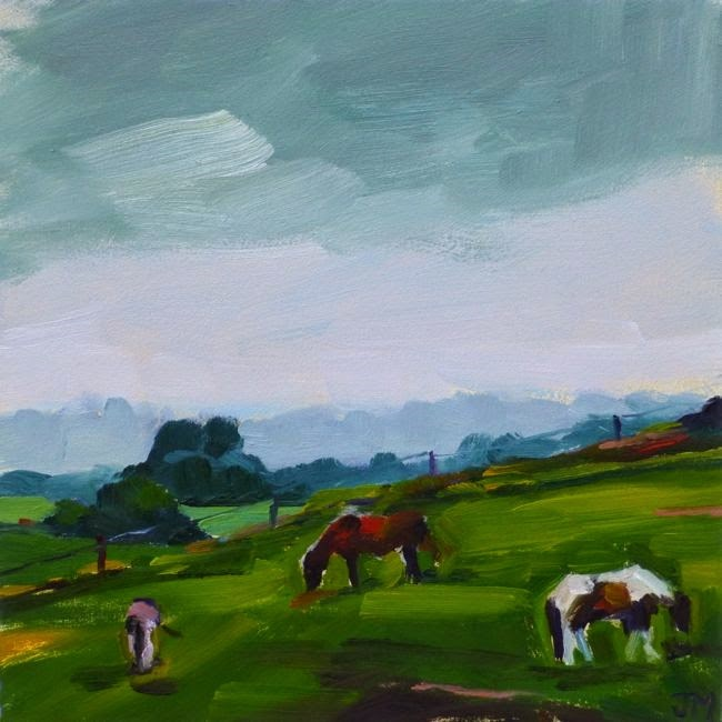 """Two Horses and a Donkey on a Rainy Day"" original fine art by Jessica Miller"