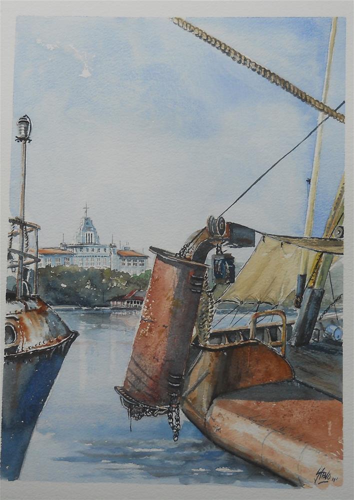 """Rusty Trawlers in Sozopol"" original fine art by Martin Stephenson"