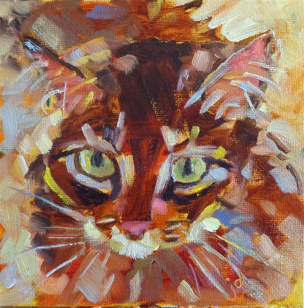 """I'm watching you"" original fine art by Jean Delaney"