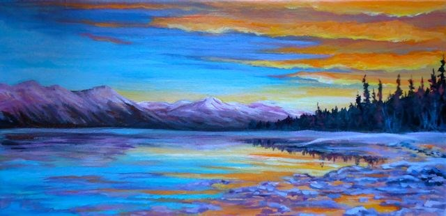 """Little Atlin Lake"" original fine art by Jackie Irvine"