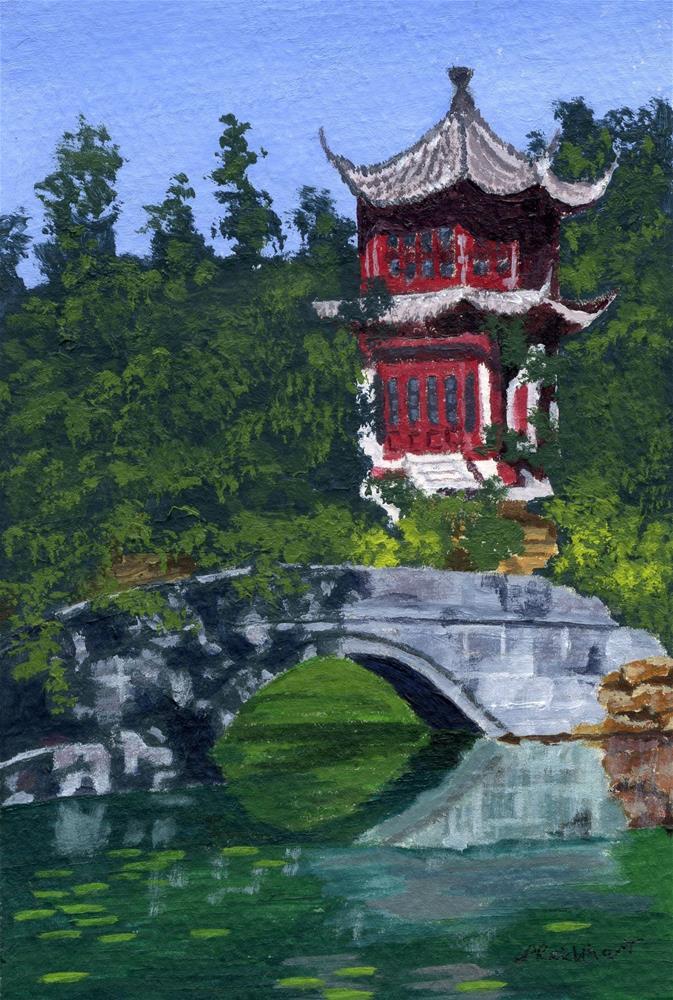 """Red Pagoda"" original fine art by Lynne Reichhart"