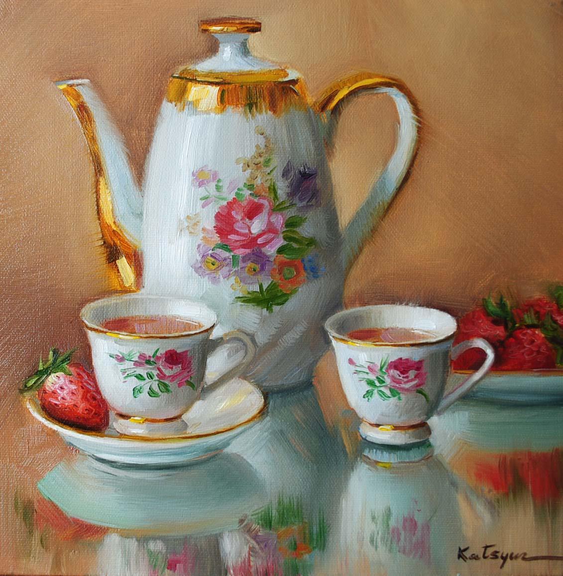 """Hot Chocolate"" original fine art by Elena Katsyura"