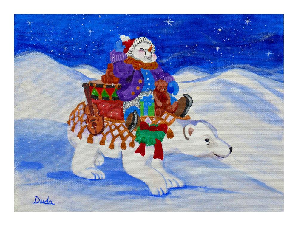 """Snowmans  Caravan"" original fine art by Susan Duda"