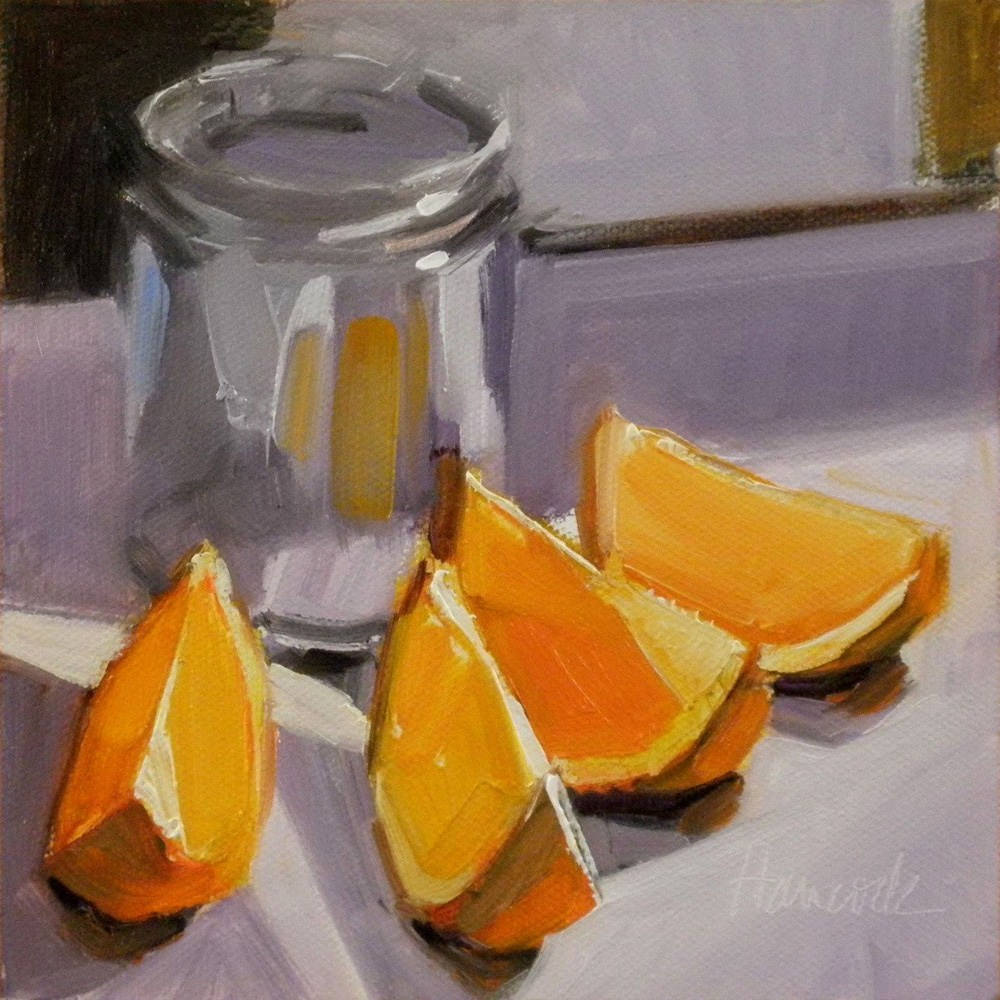 """Orange Slices Glass Jar on Lavender"" original fine art by Gretchen Hancock"