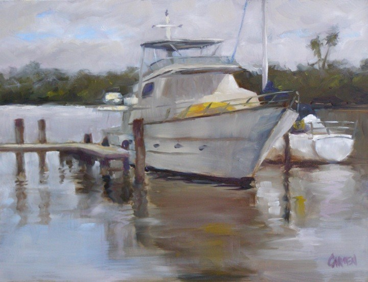 """Calm Harbor, 9x12 Oil on Canvas Board"" original fine art by Carmen Beecher"