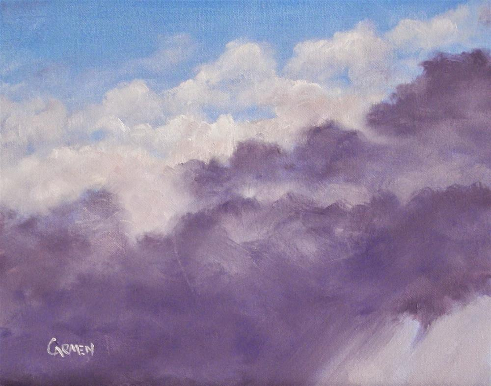 """Thundercloud, 10x8 Original OIl on Canvas Skyscape"" original fine art by Carmen Beecher"