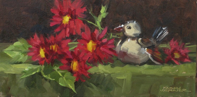 """Mums, The Bird"" original fine art by Karen Werner"