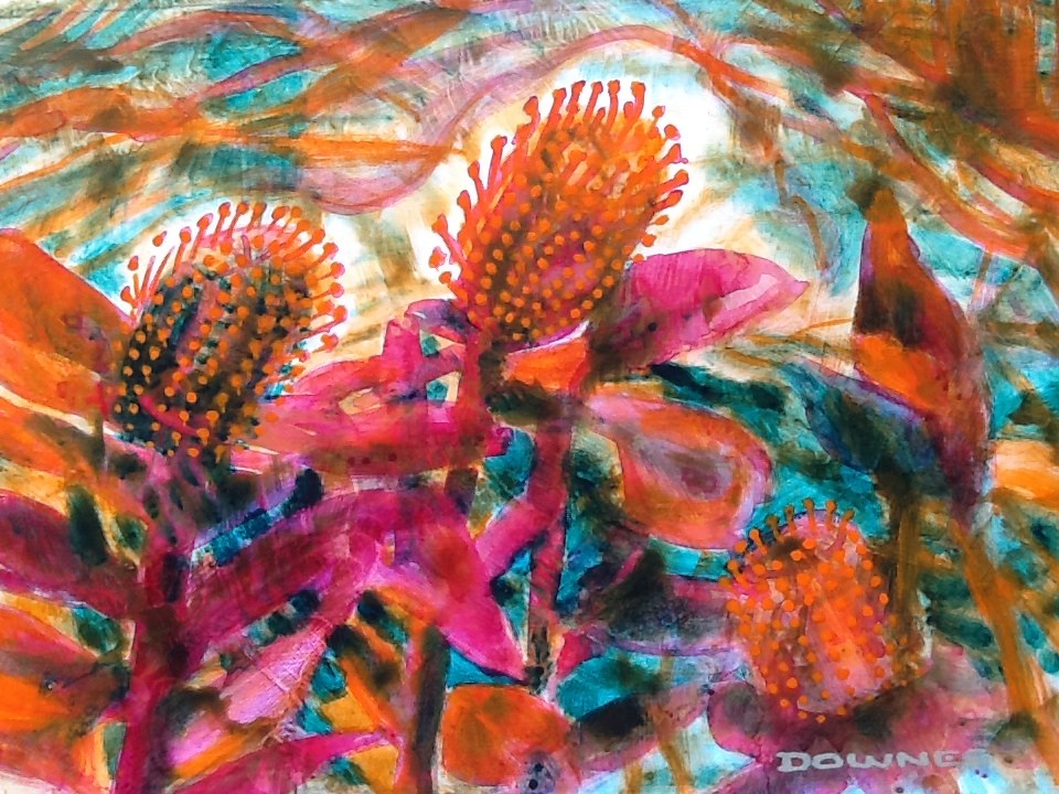 """009 BANKSIA 2"" original fine art by Trevor Downes"