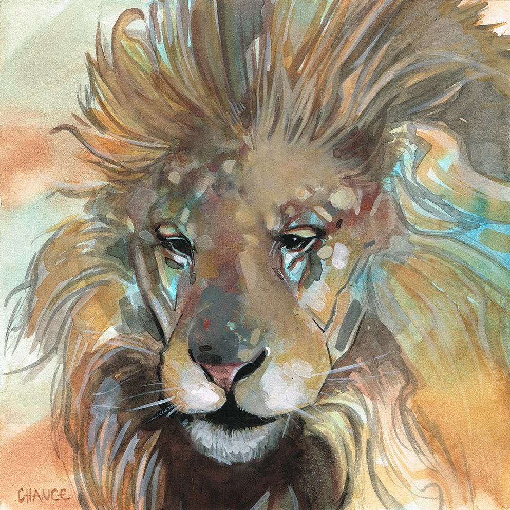 """No. 15 Lion"" original fine art by Annabel Chance"