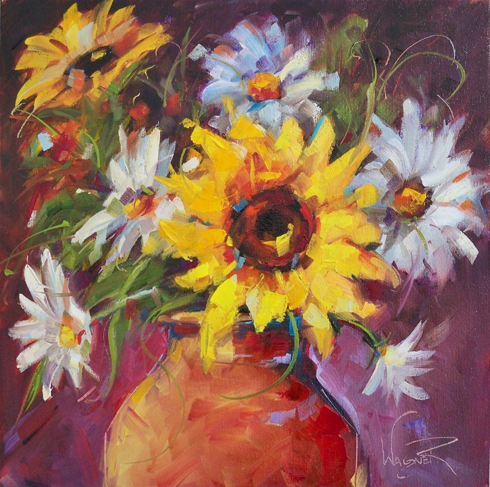 """""""SUNFLOWER DAISY FLOWER ARRANGEMENT by OLGA WAGNER"""" original fine art by Olga Wagner"""