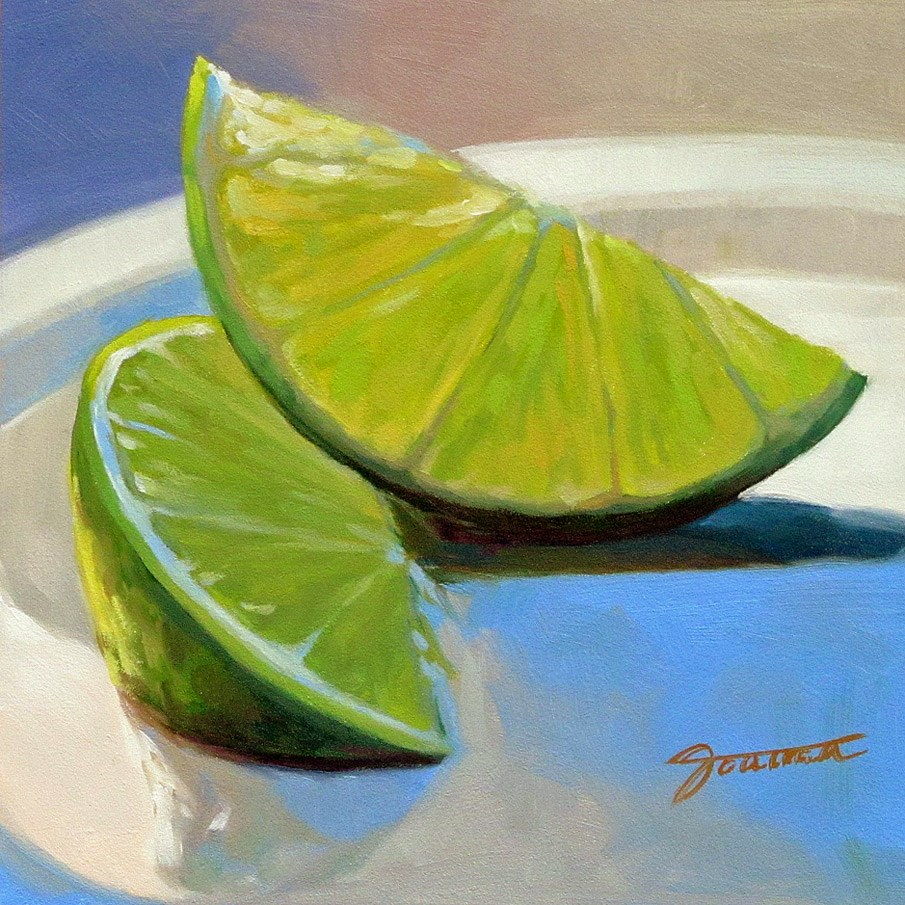 """Two Lime Slices"" original fine art by Joanna Bingham"
